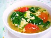 ほうれん草とトマトのかき玉スープの写真