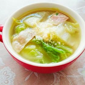 白菜とベーコンのコンソメチーズスープ