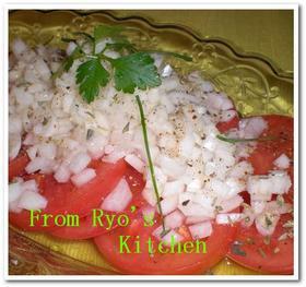 トマトと新玉ねぎの甘酢サラダ