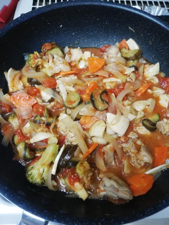 鶏モモ肉と茄子のトマト煮込み