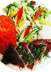 鰹のたたき 新玉ねぎと彩りサラダ添え