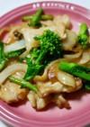 豚もも肉と菜の花のにんにく醤油炒め