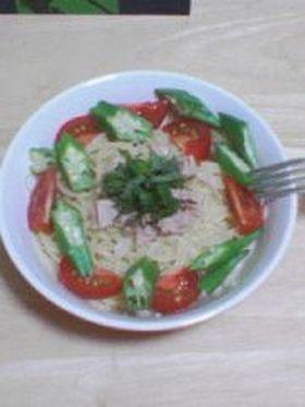 簡単!トマトとオクラの冷製パスタ