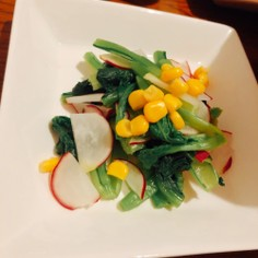 簡単 ラディッシュ、小松菜料理