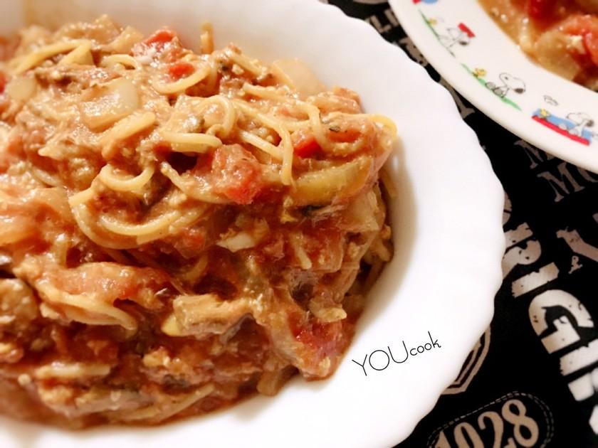 ~フライパンでさば味噌煮缶トマトパスタ~