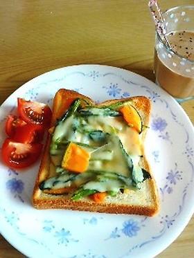 とろける♥南瓜とほうれん草トースト♡