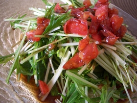 トマトドレッシングで水菜サラダ♪