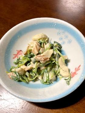 豆苗きゅうりちくわのマヨポンサラダ