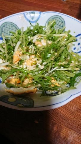 簡単。水菜のスクランブルエッグサラダ
