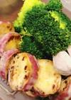 温野菜に添えたさつまいものサラダ