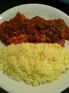 鶏もも肉のトマト煮とサフランライス