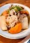 味付け楽ちん、肉、しらたき、根菜類煮物!