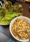 筍(タケノコ)と挽き肉炒めのレタス巻き