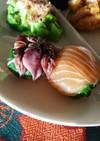 蛍イカとサーモン手まり寿司