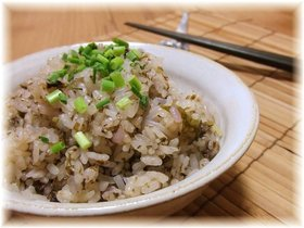 磯の香♪豚肉と海苔の佃煮の炊き込みご飯