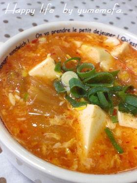 酸っぱいキムチが美味変身♬豆腐のあんかけ