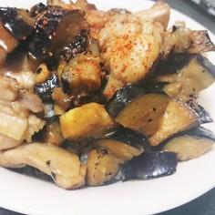 鶏ナス味噌炒め丼