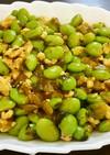 枝豆と鶏ひき肉の中華風高菜炒め