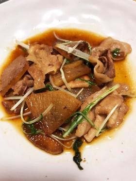 豚バラと大根と水菜のオイスター炒め