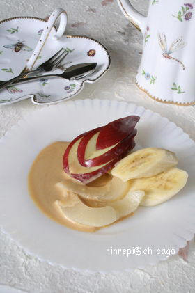 フルーツにチーズキャラメルソース