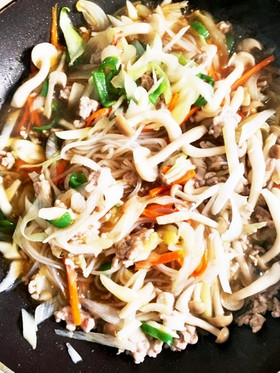 野菜マロニーピリ辛とろとろ炒め煮