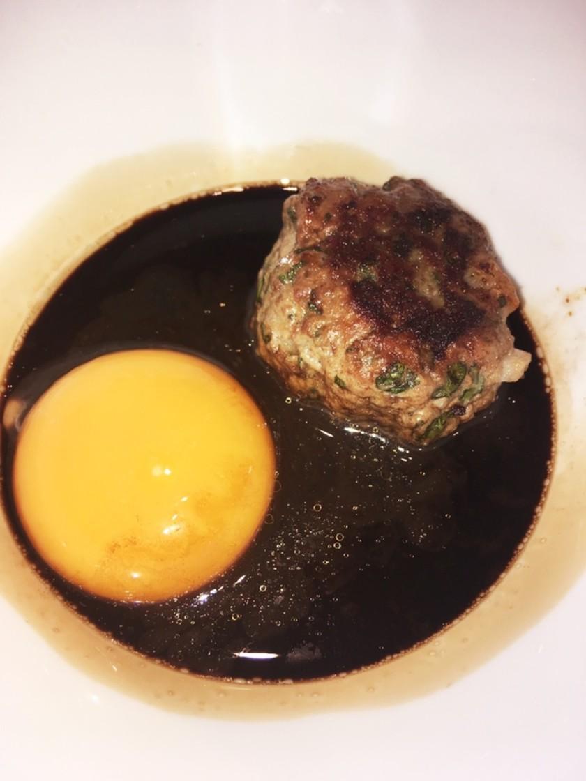 鴨つくねバルサミコ酢&生卵