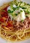 温玉乗せキムチとツナの麺つゆ冷製パスタ