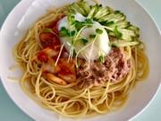 温玉乗せキムチとツナの麺つゆ冷製パスタの写真