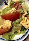 トマトとレタスの簡単ふんわり卵炒め