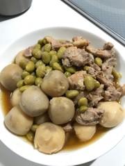 炊飯器★鶏モモと冷凍里芋・枝豆の煮物の写真