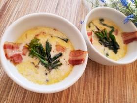 菜の花とたっぷりベーコンの豆乳スープ