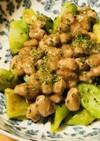 毎日の納豆●納豆とブロッコリーの茎炒め