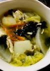低フォド*鶏ささみ茹で汁で豆腐野菜スープ