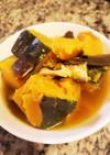 嫁ごはん。かぼちゃと鶏むね肉と椎茸の煮物