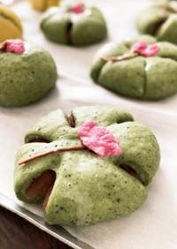 ふんわり春色♪よもぎ桜あんパン