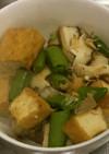 厚揚げとスナップエンドウと椎茸の塩炒め