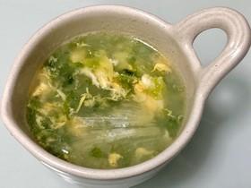 簡単☆ごま油香るレタス卵あおさのスープ