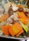 塩糀漬け鶏もも肉と甘栗で根菜の煮物を~