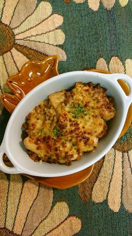 里芋そぼろあんの味噌チーズ焼き