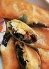 豚挽肉とニラ玉の春巻き♪