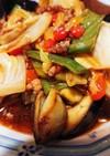 酢豚の素でひき肉野菜炒め