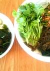 三種の海藻と納豆乗せサラダうどん