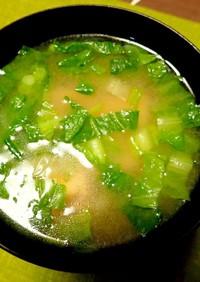 厚揚げと白菜菜花の味噌汁