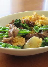 牛こま切れ肉とスナップエンドウの卵炒め