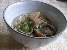 冷やし素麺@浅蜊のスープ