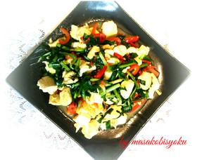 お豆腐、卵、ニラのコラボ