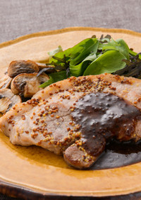 豚ランプ肉のハニーマスタードソテー