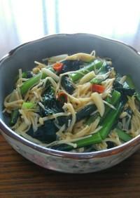 小松菜とエノキのペペロンバター醤油