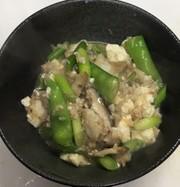 白身魚と豆腐とにんにくの芽の沙茶醤炒めの写真