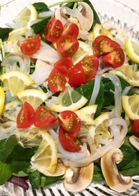 イカそうめんとレモンの春サラダ